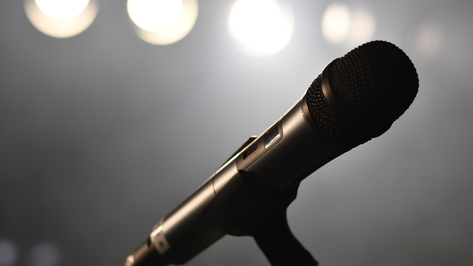 Mic on stage under lights